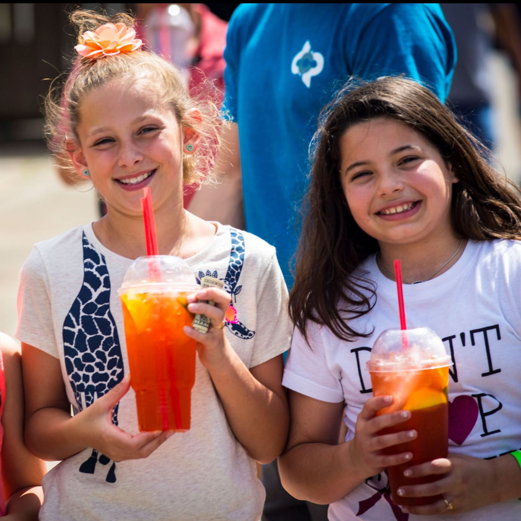 Kids with Texas Twister Drinks at Angleton Market Days