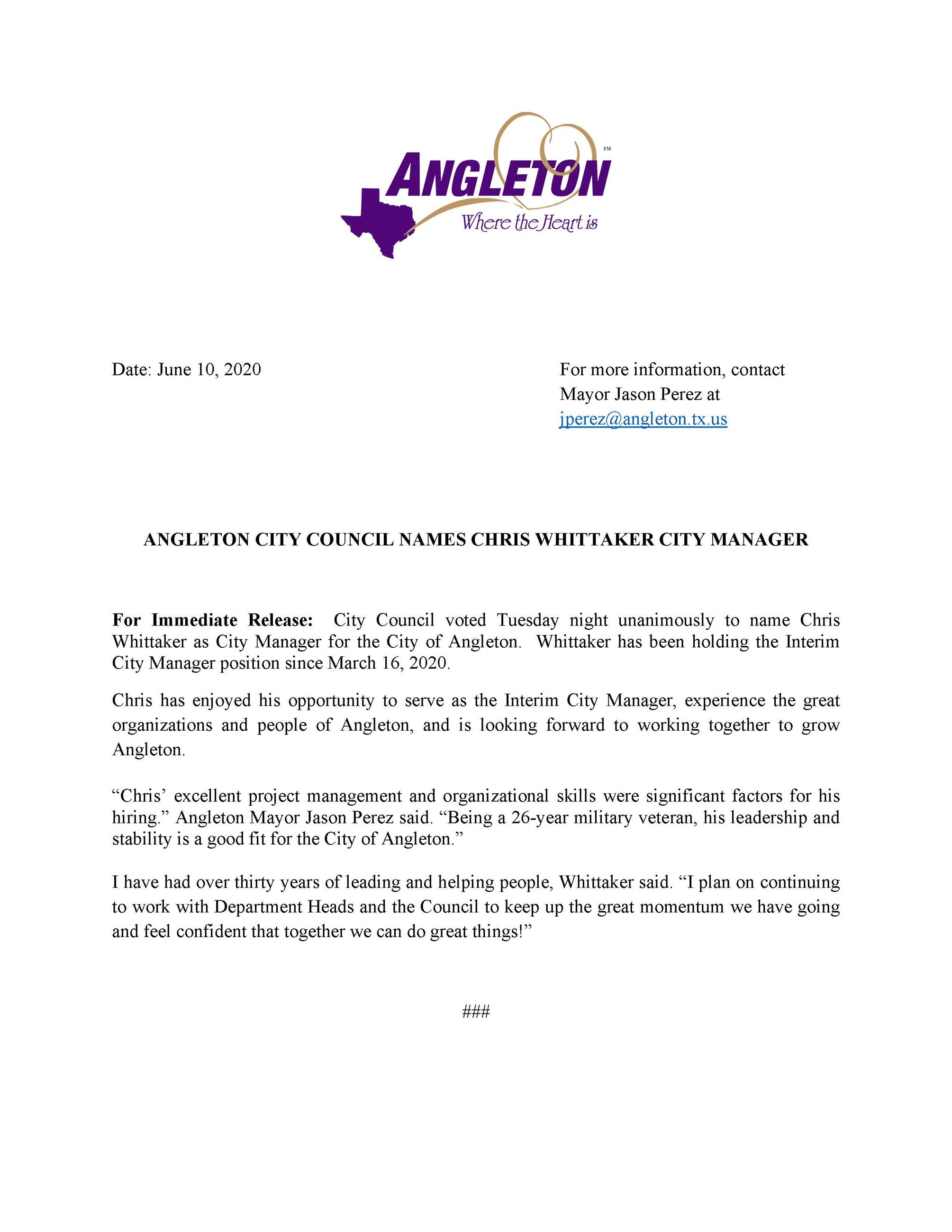 Press release on Chris Whittaker